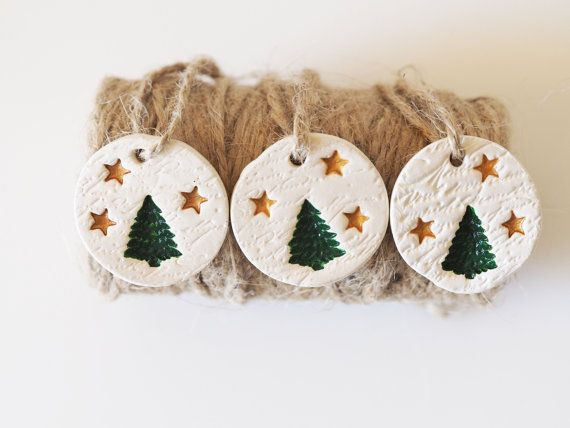 Photo of Set of 3 Christmas tree on vintage french script clay decoration -Christmas ornament – Clay gift tag – Christmas tree and gold stars design
