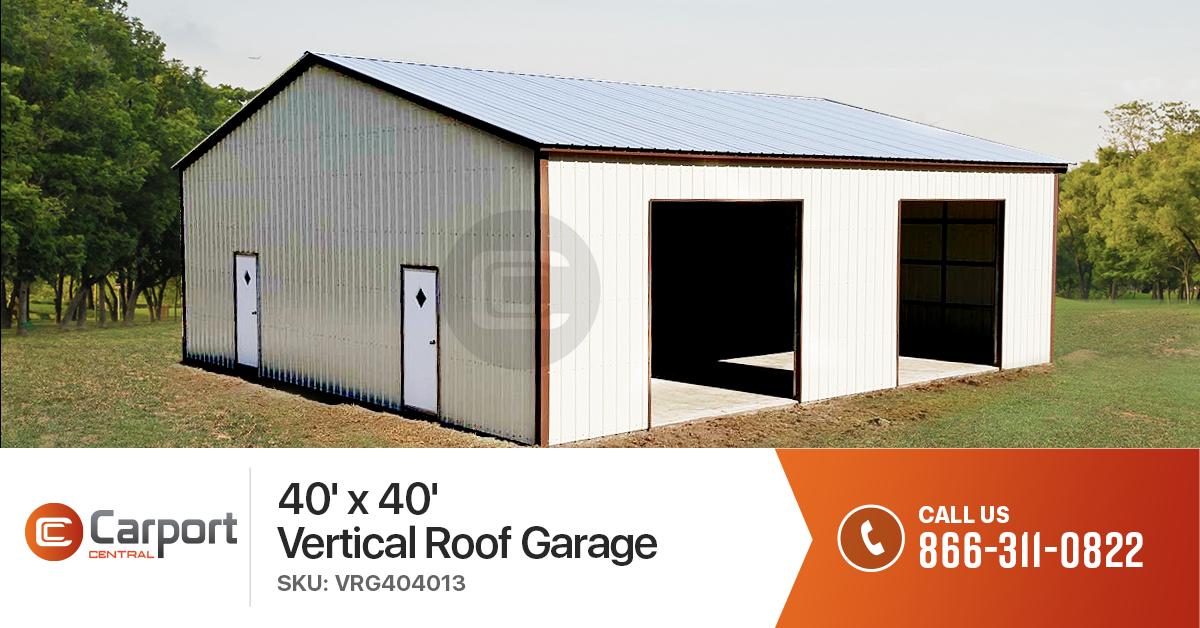 40x40 Vertical Roof Garage 40 X 40 Garage Building Prices Metal Building Prices Prefab Metal Buildings Metal Garages