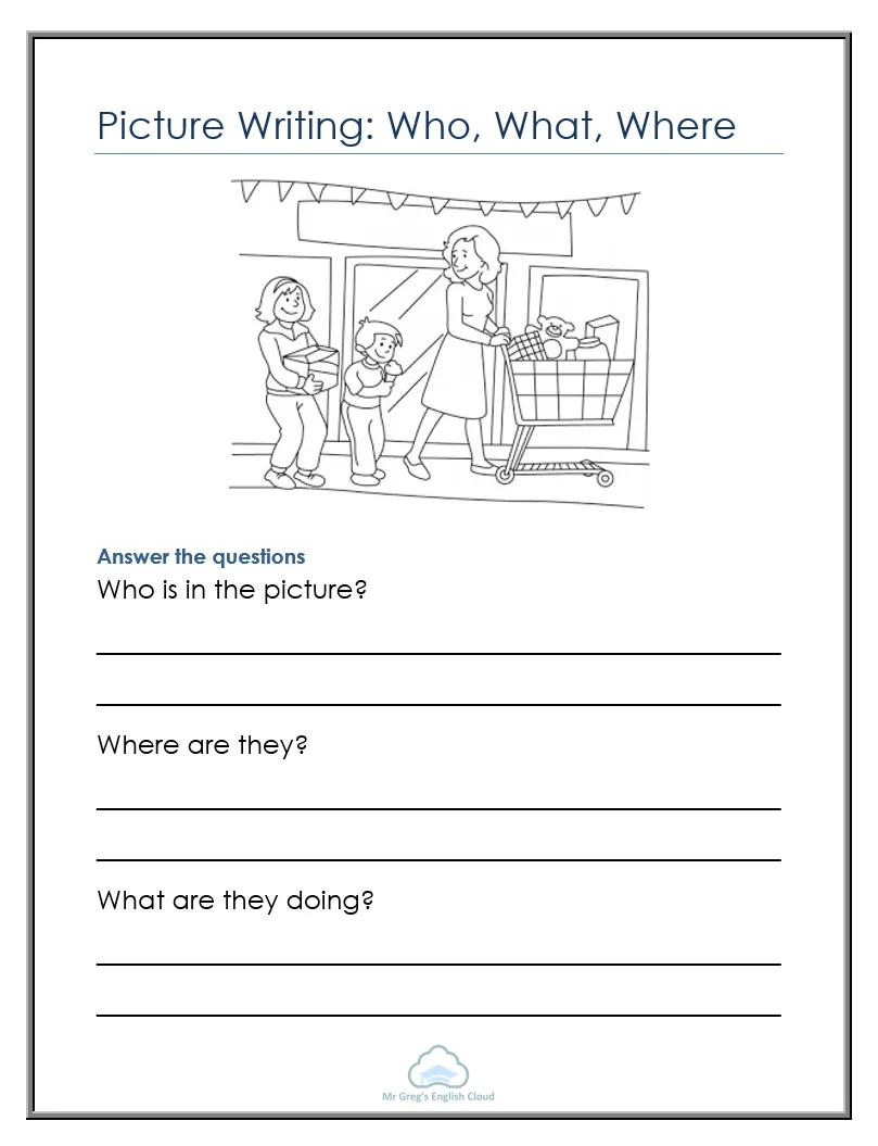 Picture Writing Who What Where Mr Greg S English Cloud Reading Comprehension For Kids Writing Comprehension Reading Comprehension Kindergarten [ 1055 x 809 Pixel ]