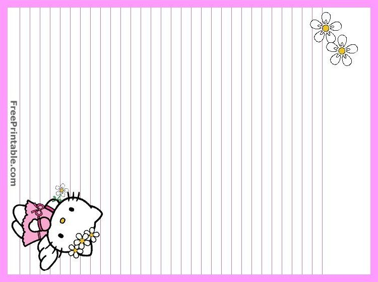 Hello Kitty printable stationary For Bailey Pinterest - lined paper with drawing box