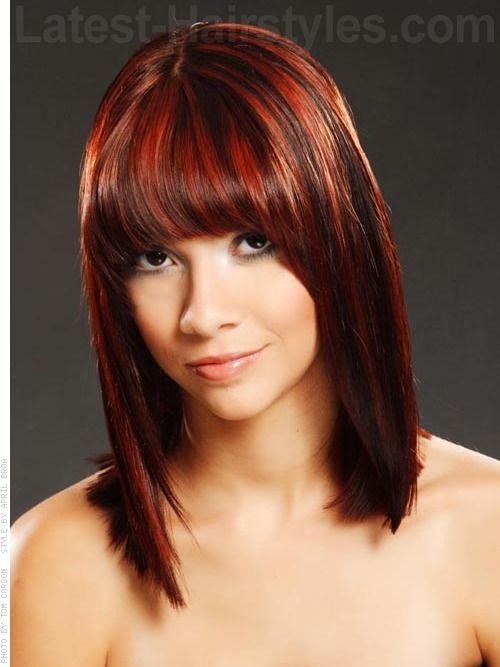 current hairstyles with bangs for 2014 | red sleek shoulder length ...
