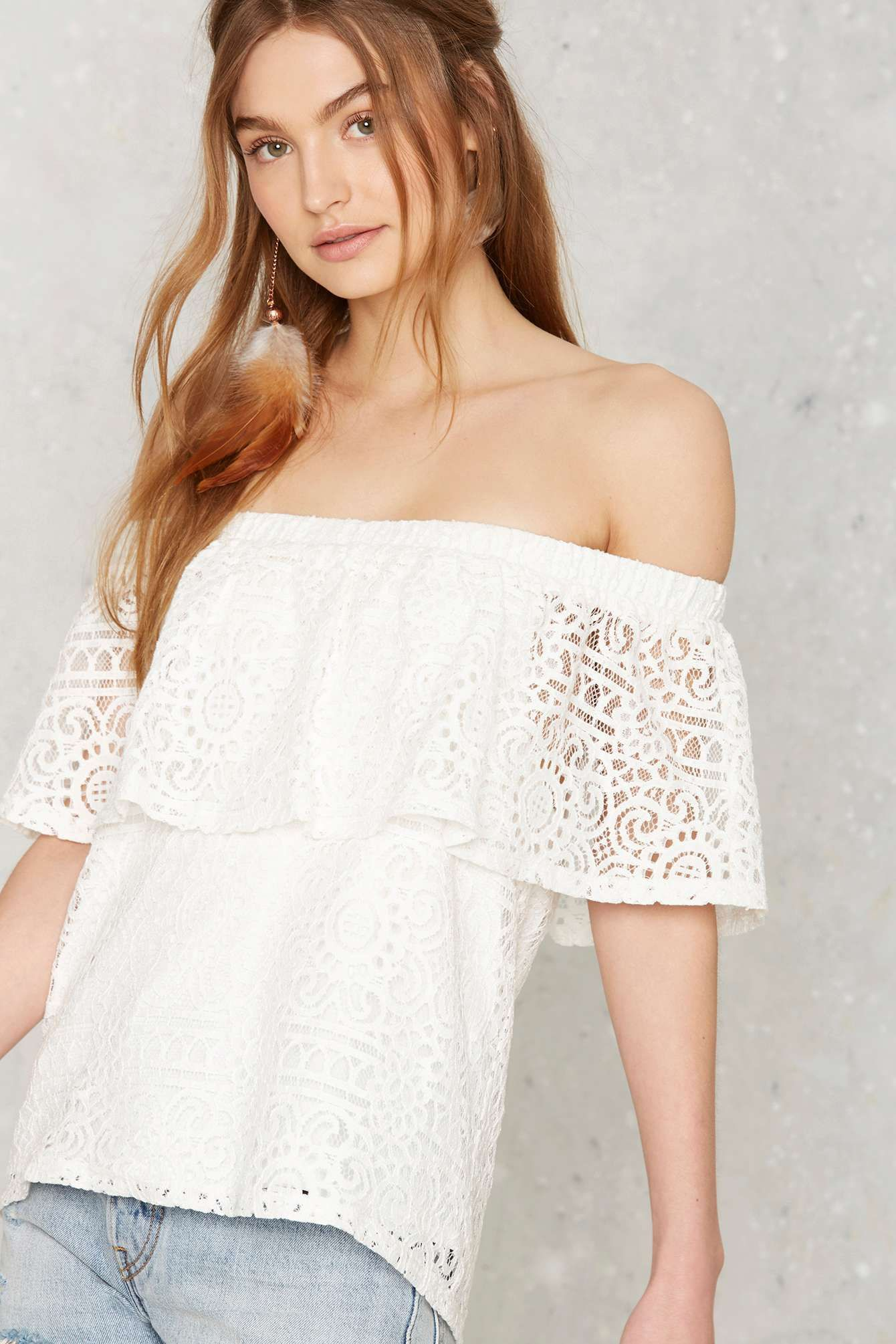 In Bare Form Off-the-Shoulder Lace Top   Shop Clothes at Nasty Gal!