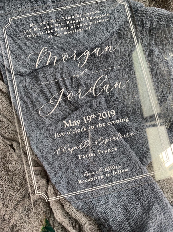 Acrylic Wedding Invitation Clear Invitations Poly
