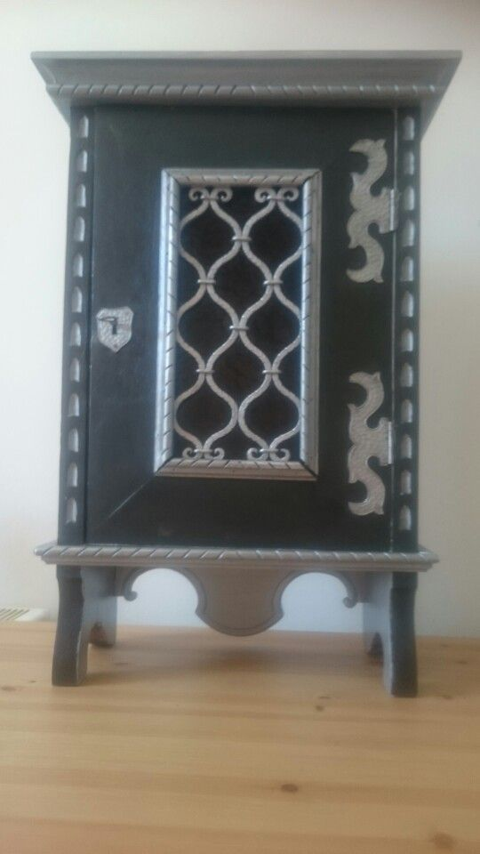 Painted China Cabinet Black And Silver