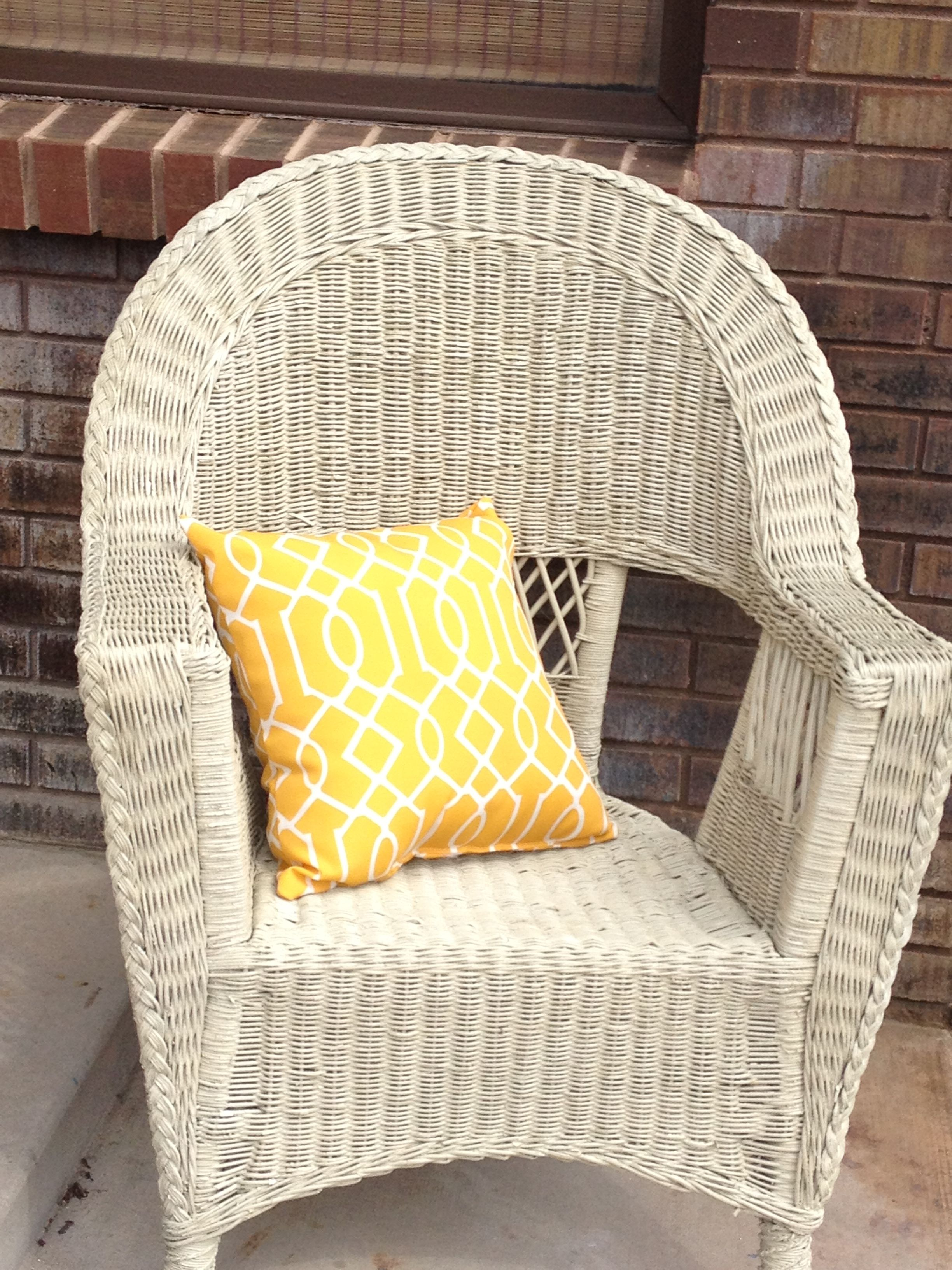 Old Wicker Chair, Almond Spray Paint, Kmart Pillow