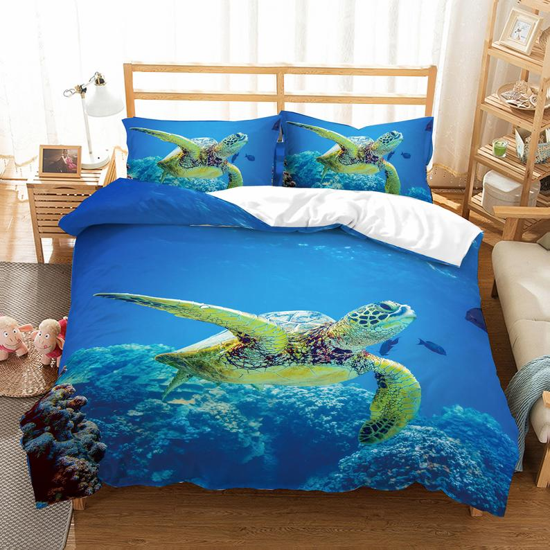 3d Sea World Sea Turtle Bedding Set Quilt Cover Quilt Duvet Etsy Personalized Bedding Quilted Duvet Cover Bed Linen Sets
