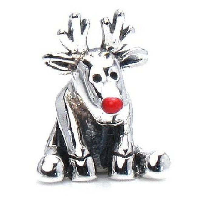 2fc4146ce Queenberry Sterling Christmas Rudolph the Red Nose Reindeer European Bead  Charm