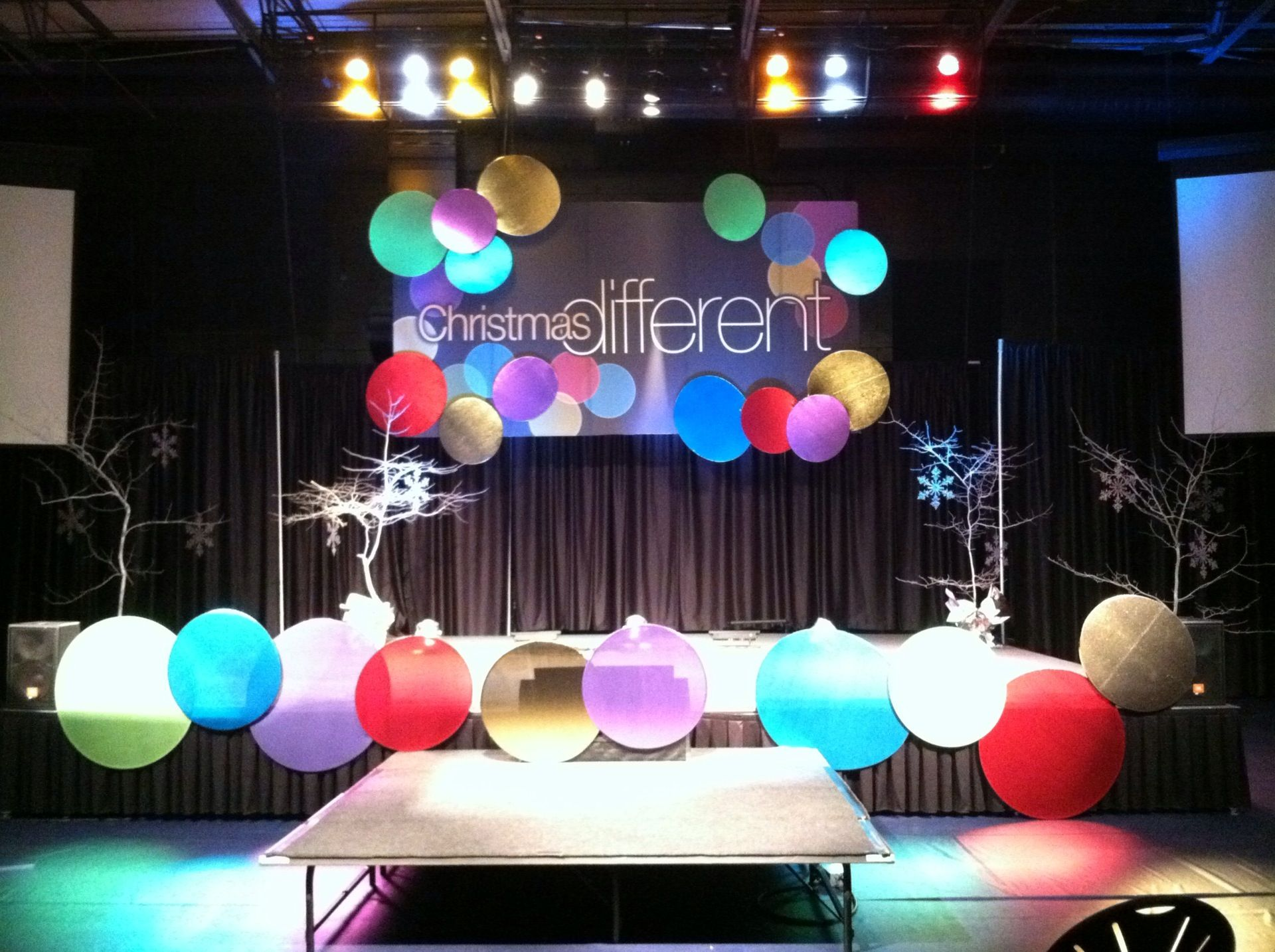 ornaments church stage design ideas - Christmas Stage Decorations