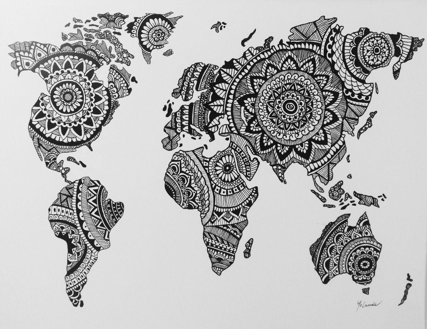 Zentangle world map design tech pinterest art de mur for Art du monde