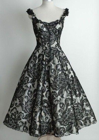Lace Black 1950 S Vintage Dress Vintage Dresses Beautiful Dresses Pretty Dresses