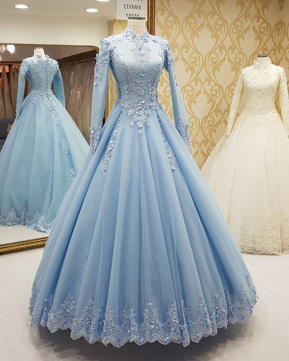 58e794b0f9 Light Blue Formal Occasion Dress With Long Sleeves