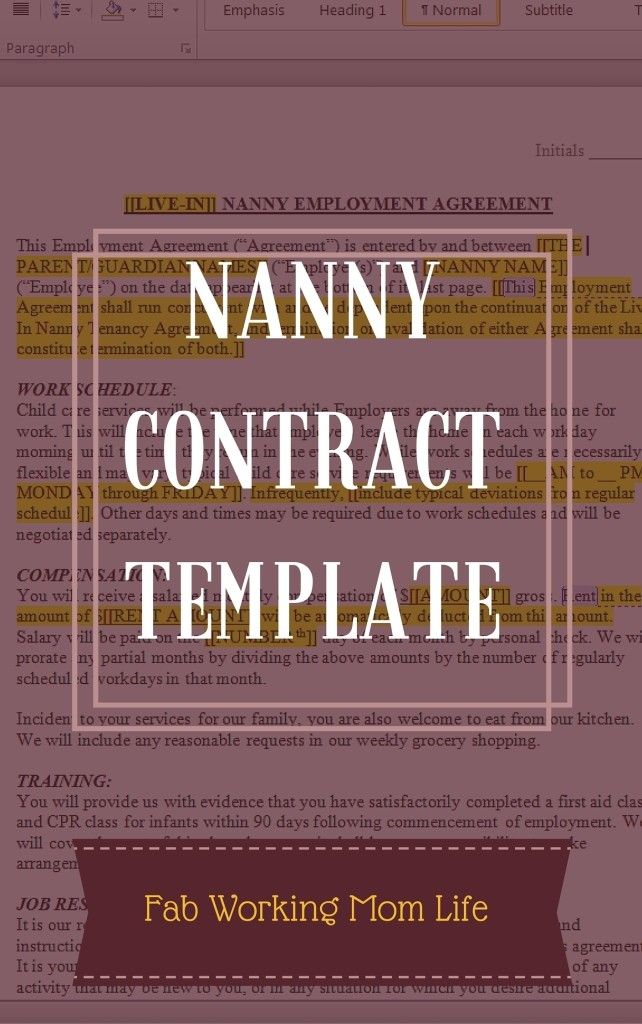 Nanny Contract Template Nanny contract, Language and Template