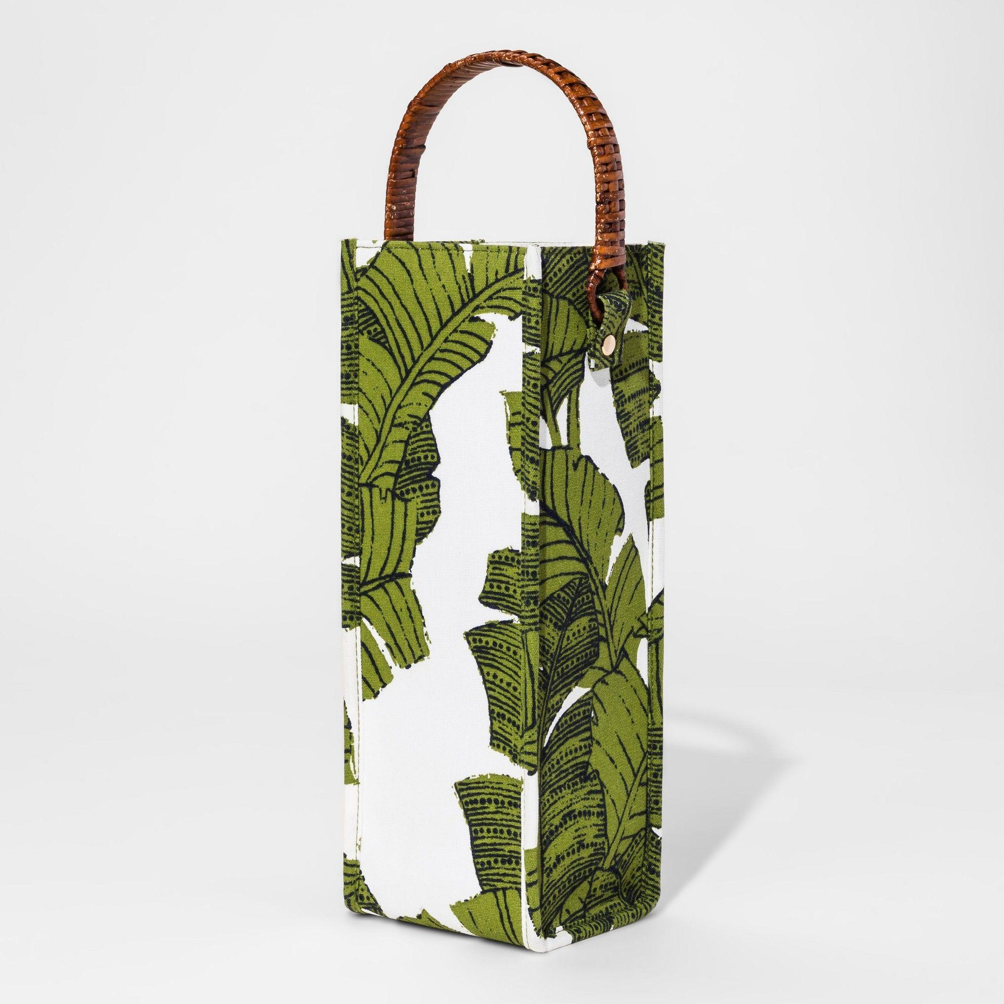 Fabric wine bag with rattan handle green palms threshold