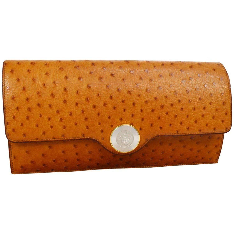 533f5c7eaf9 Hermes Vintage Cognac Ostrich Leather Envelope Evening Clutch Flap ...