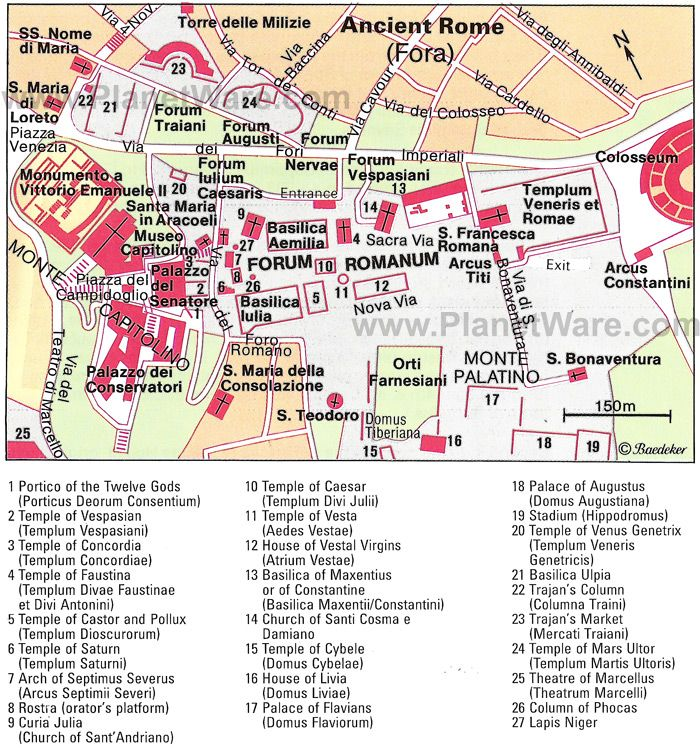 ancient rome map tourist attractions rome pinterest rome