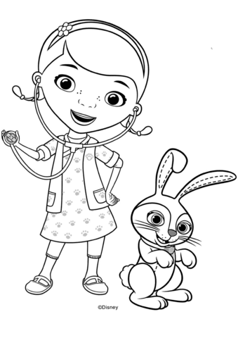 Doc Mcstuffins With Carrots Bunny Coloring Page Doc Mcstuffins Coloring Pages Free Coloring Pages Cartoon Coloring Pages