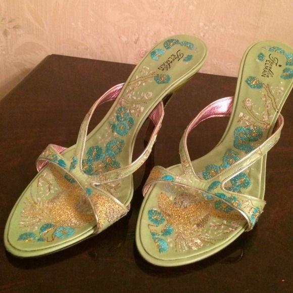 "New Sandals. Size 8. Green/gold - Franklin Elman New Sandals. Size 8. Leather Green/gold quilted.  Franklin Elman - hand made in Italy. Heel 4"" Franklin Elman  Shoes Sandals"