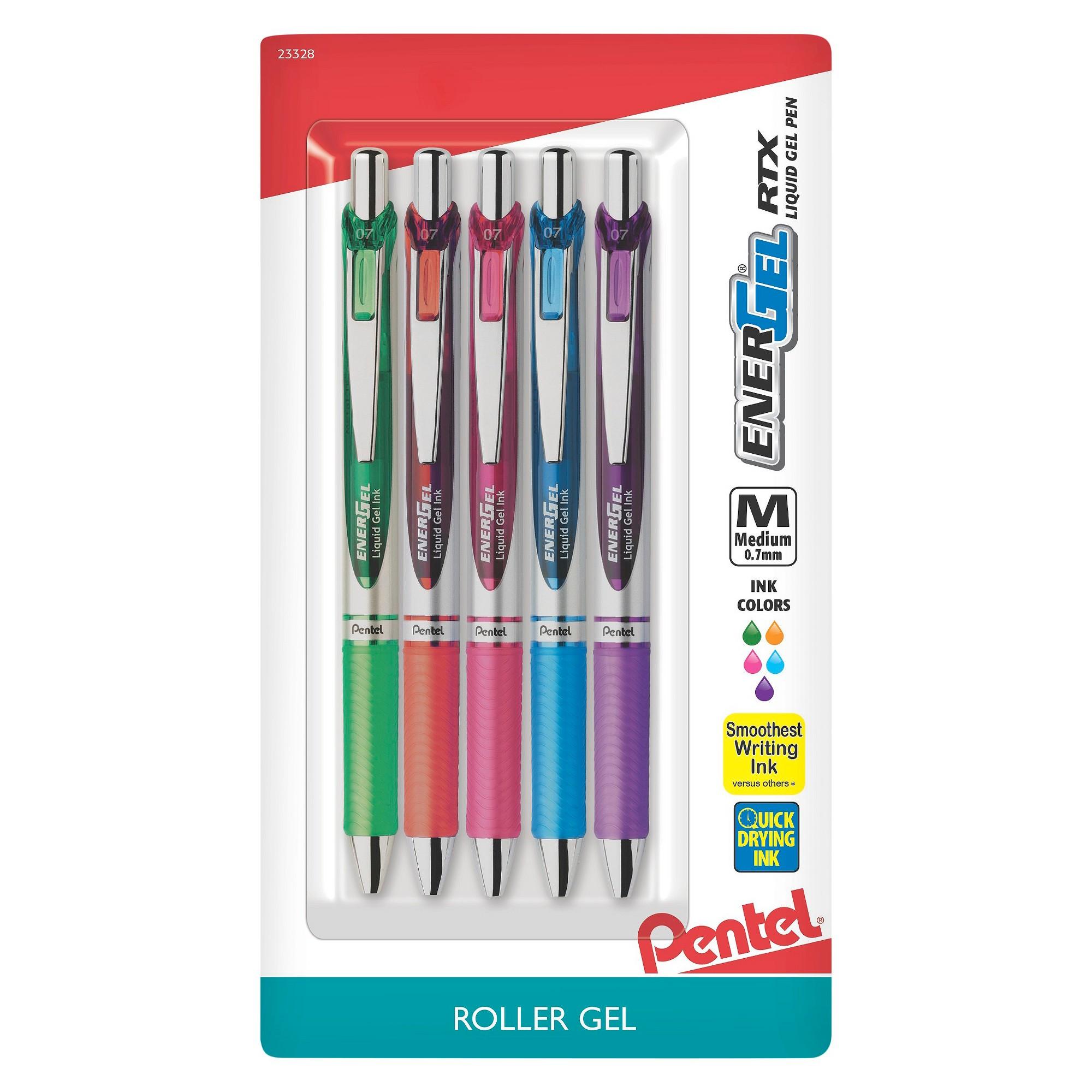 Pentel 5ct Rollergel Pens Energel 0 7mm Multiple Color Ink Gel