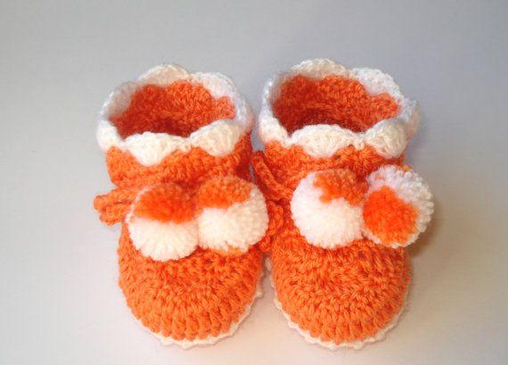 Orange Baby Booties, häkeln Baby Booties, gehäkelt, bunte Socken ...