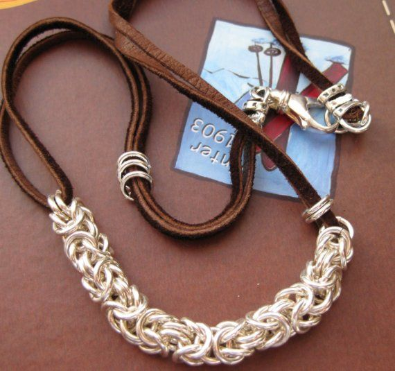 Byzantine and Leather Necklace free U.S. Shipping by goodjewelry