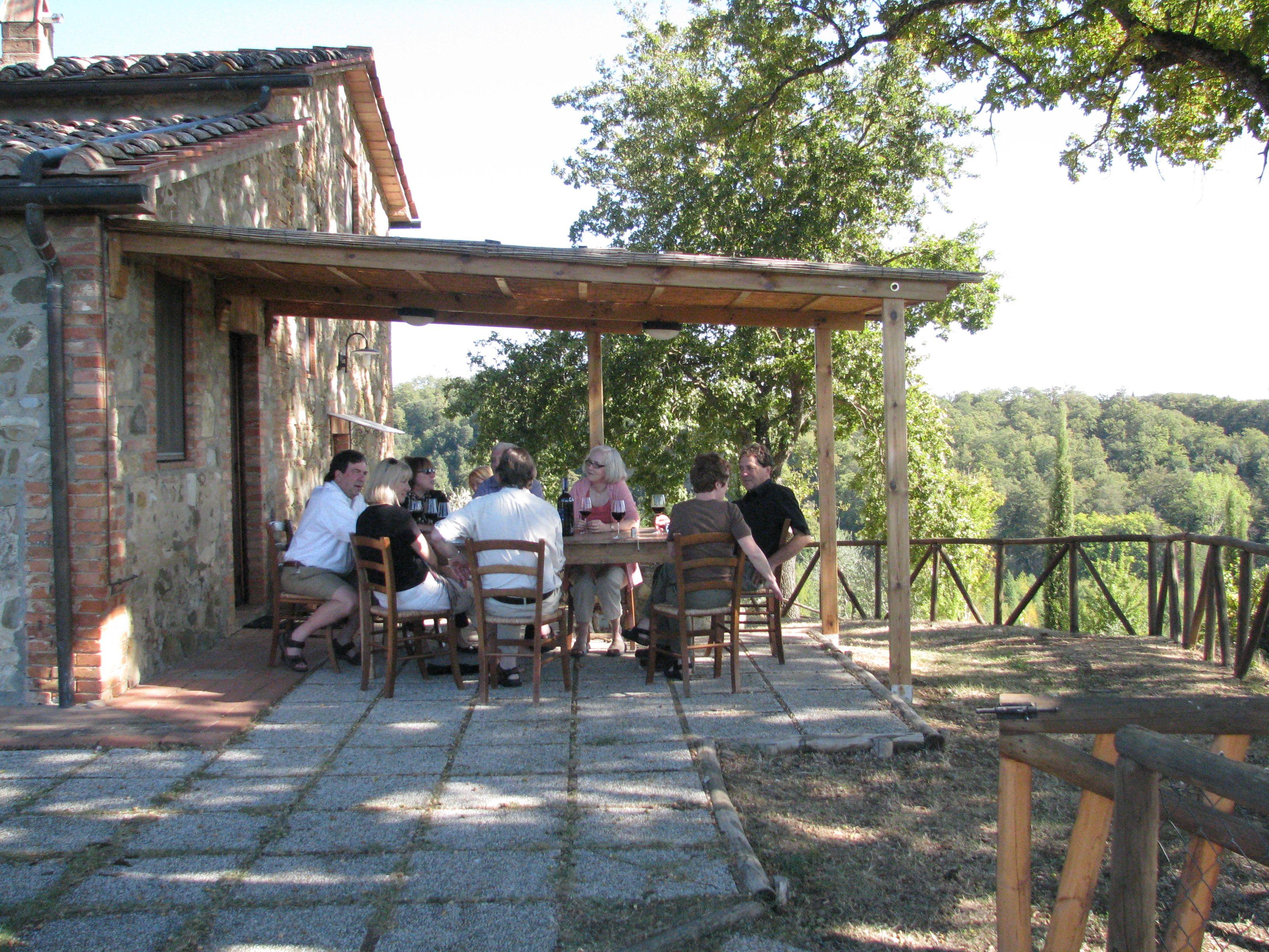 First afternoon at the villa, drinking Poggio Bonelli