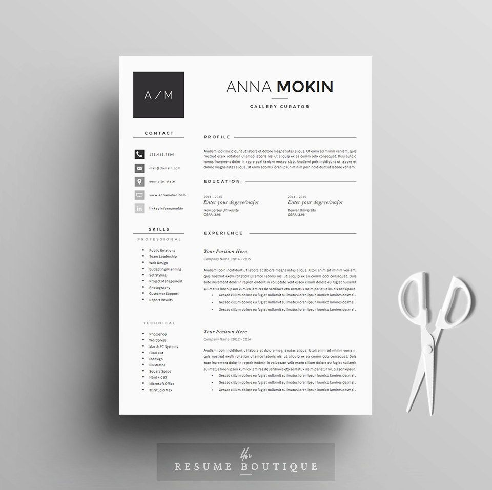 Lettre De Motivation Template: 5 Page Resume / CV Template + Cover Letter + References