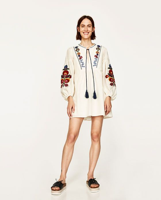 festival wear EMBROIDERED MINI DRESS from Zara | Mini