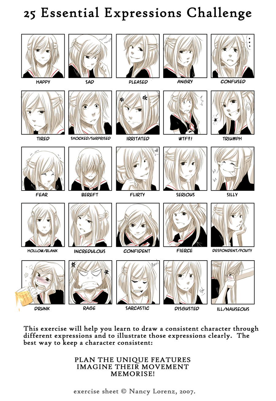 25 Essential Expressions meme by BlackCurls.deviantart