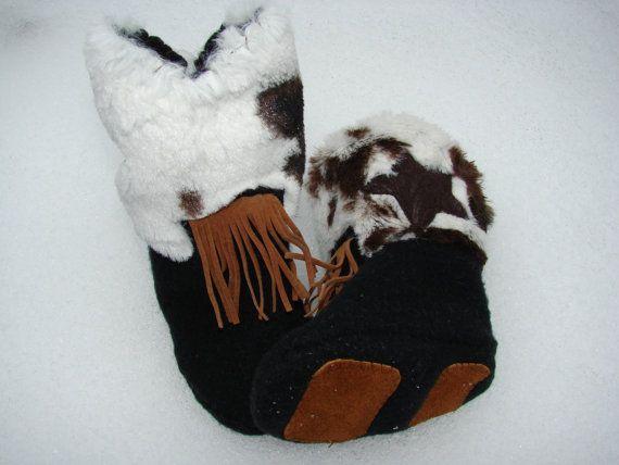 Faux Cow Hide Fleece Baby Booties Anti Slip by AppleAnniesMarket