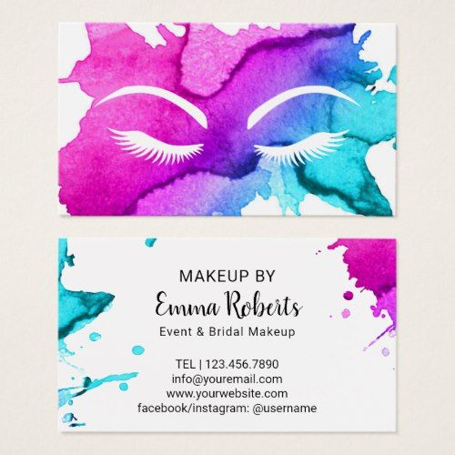 Event Bridal Makeup Artist Watercolor Salon Business Card