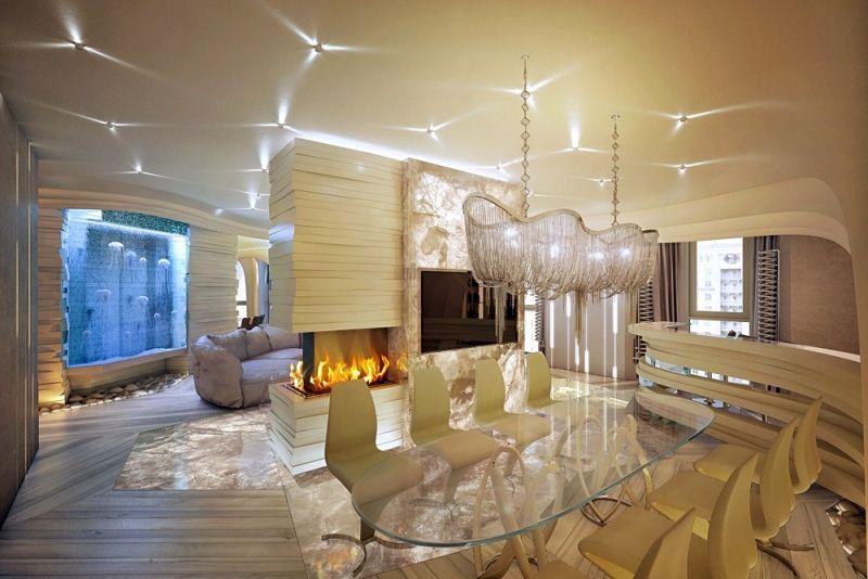 Wunderbar Moderne Wohnideen   Aquarium Mit Quallen Im Esszimmer
