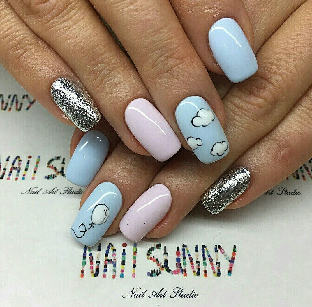 Cloud And Balloon Pastel Nail Art Nailart Clouds Nailpolish