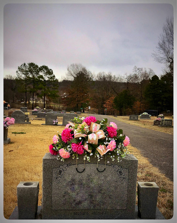 Grave Decoration Headstone Flowers Cemetery Saddle For Mom Birthday Gift Memorial Tribute Pink