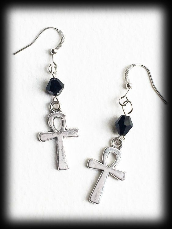 Gothic Ankh Earrings, Egyptian Wicca Pagan, Jet Crystals