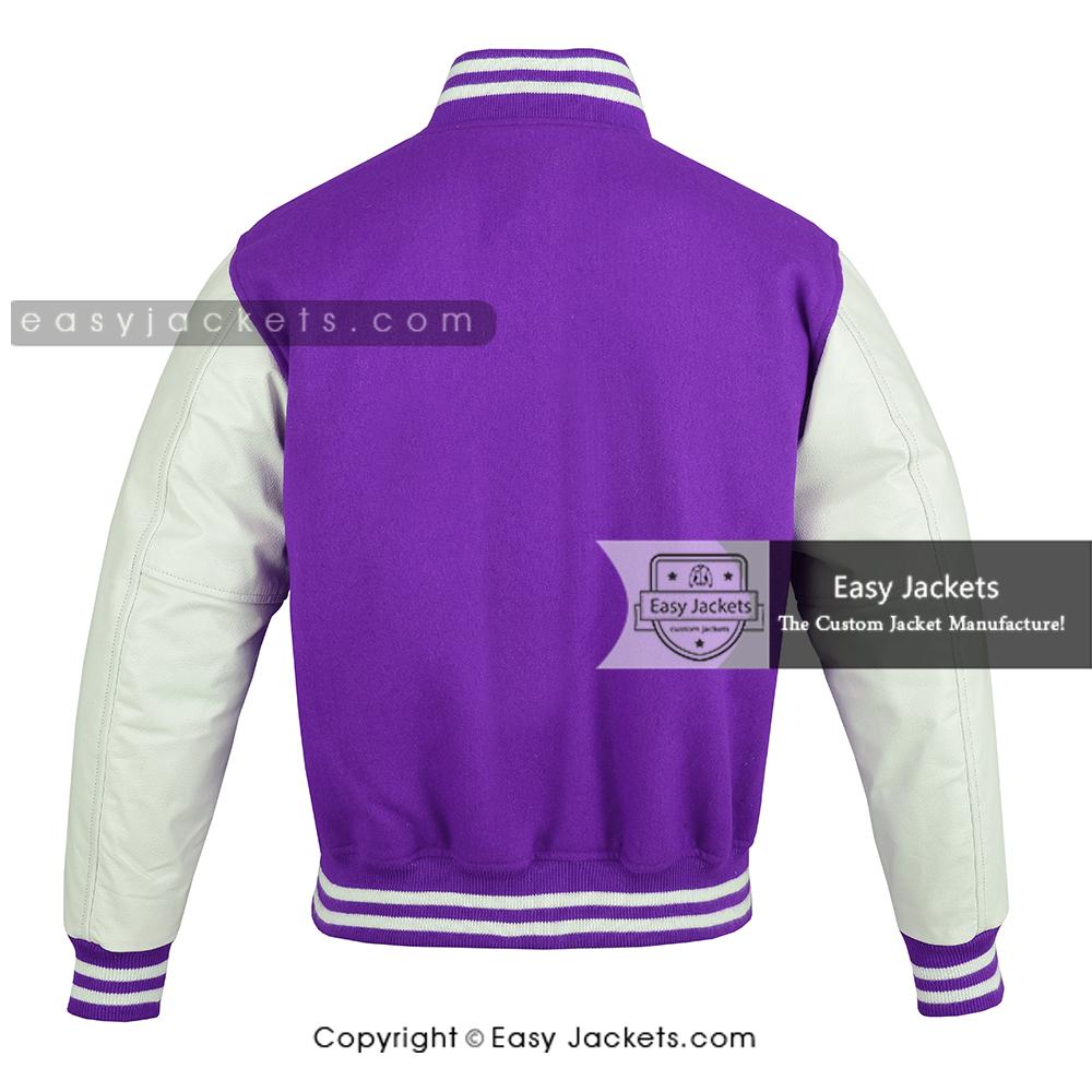 Leather Varsity Jacket, Blue & White Leather varsity