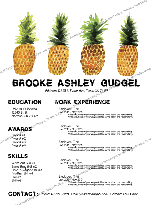 Pineapple Resume Conact Brookegudgelgmailcom Sorority Rush - Free rush resume template