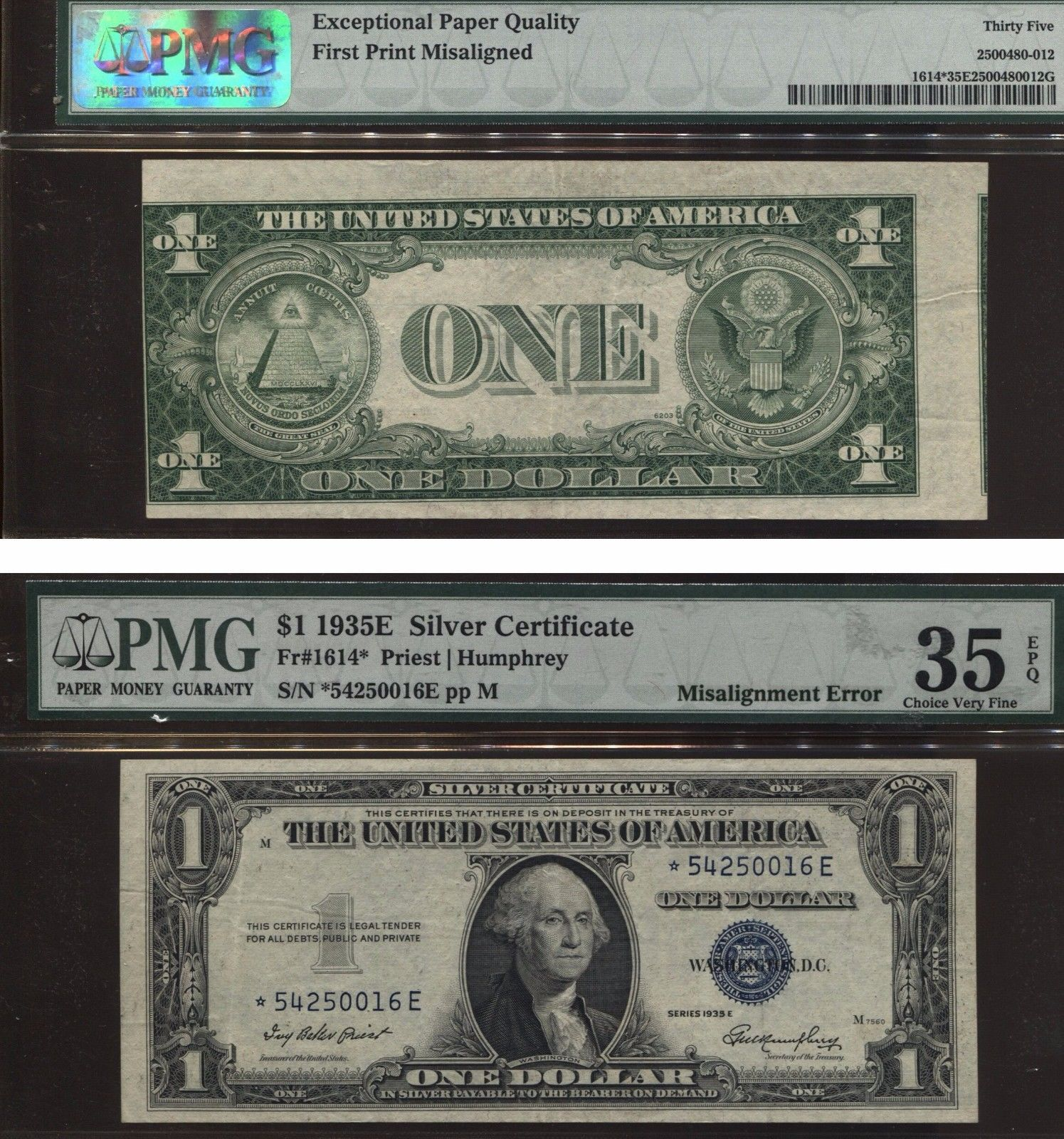 Misalignment Error Note 1935 Silver Certificate 1 Off Center