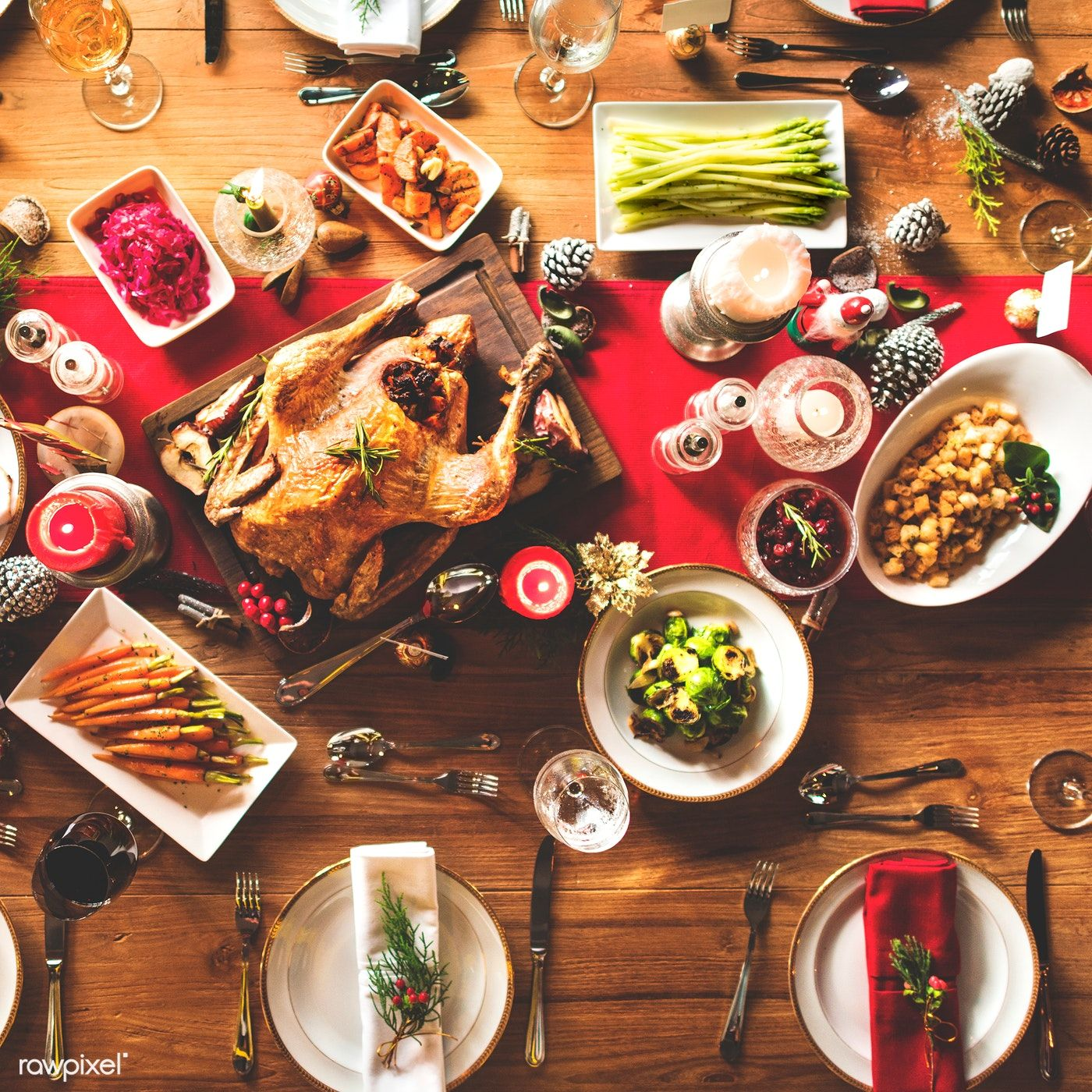 Download Premium Image Of Aerial View Of A Table Full Of