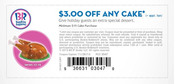 httpstwittercomBaskinCoupons Baskin Robbins Coupons 300 OFF