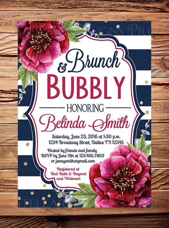 ef3456f82011 Brunch and Bubbly Bridal Shower Invitation by StellarDesignsPro