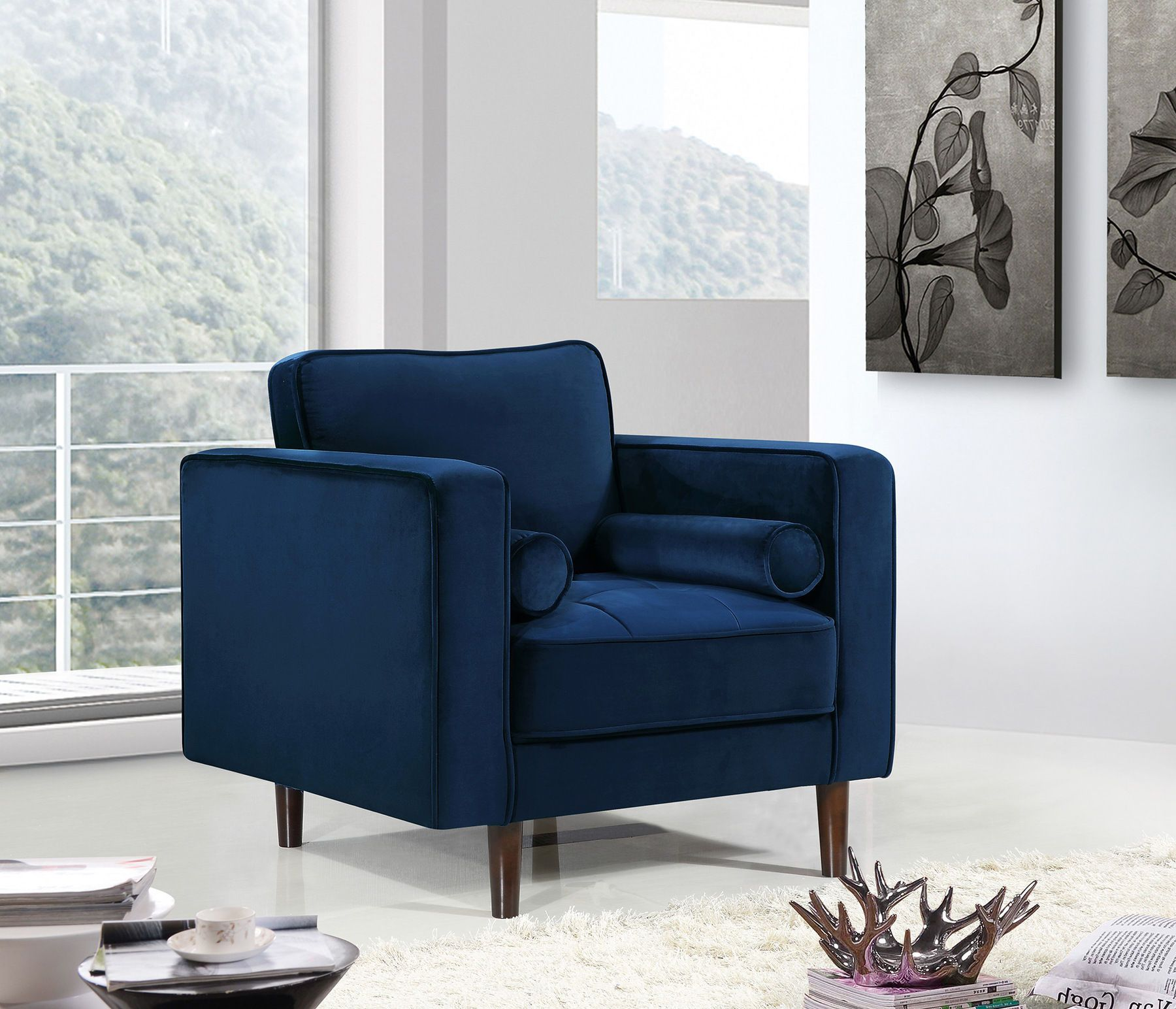 Meridian Emily Navy Velvet Fabric Contemporary Sofa W Tufted Seat In 2019 Meridian Furniture Velvet Sofa Furniture