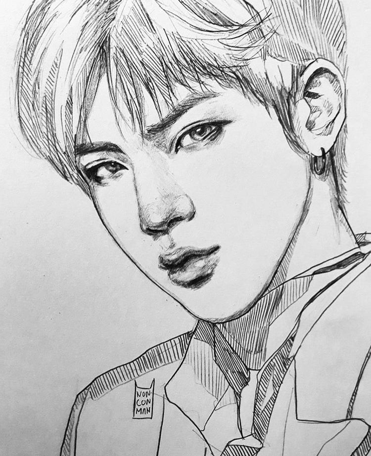 Line Art Kpop : Jin line art bts fanart t and seokjin