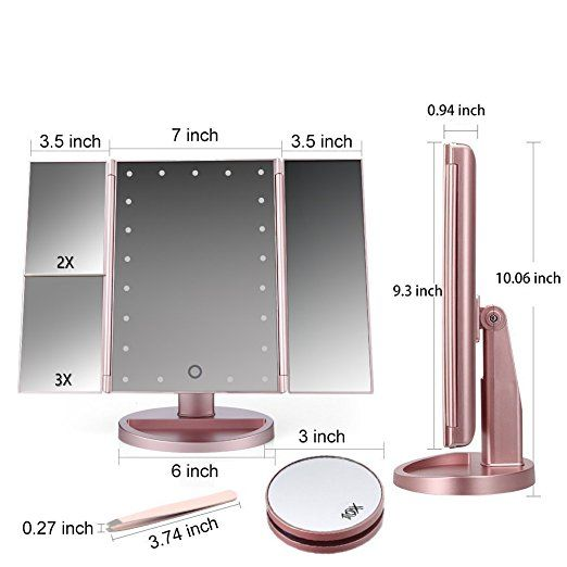 Tri Fold Vanity Mirror With Lights Amazon Lighted Vanity Mirror Led Lighted Trifold Makeup Mirror