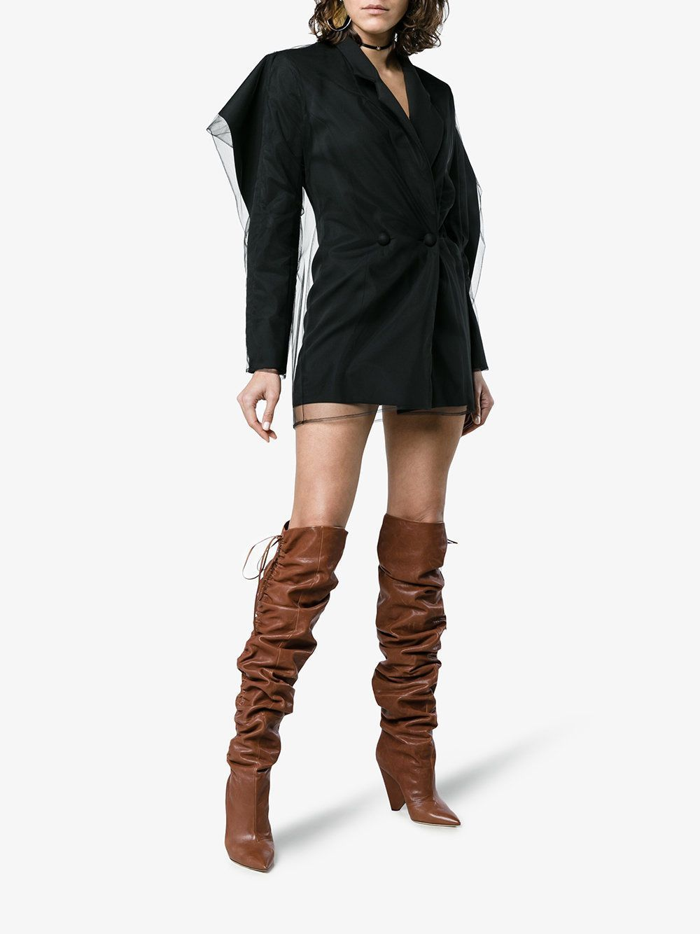 26c8fe707f8 YSL Saint Laurent Niki 105 Leather Thigh High Boots - RunwayCatalog.com