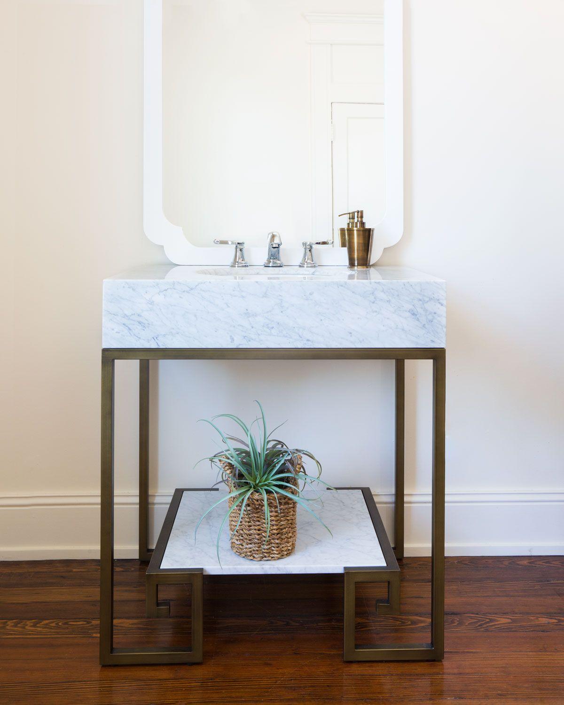 Sabina Marble Top Vanity and White Porcelain Sink Marble