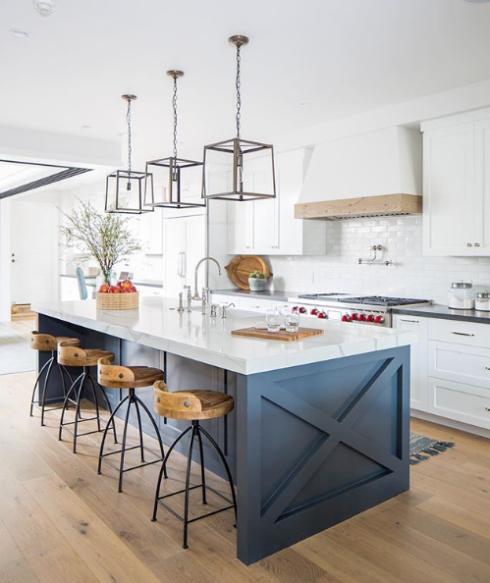Beautiful Modern Kitchen With Blue Island And Black Light Fixtures Kitchen Interior Kitchen Design Kitchen Island Design
