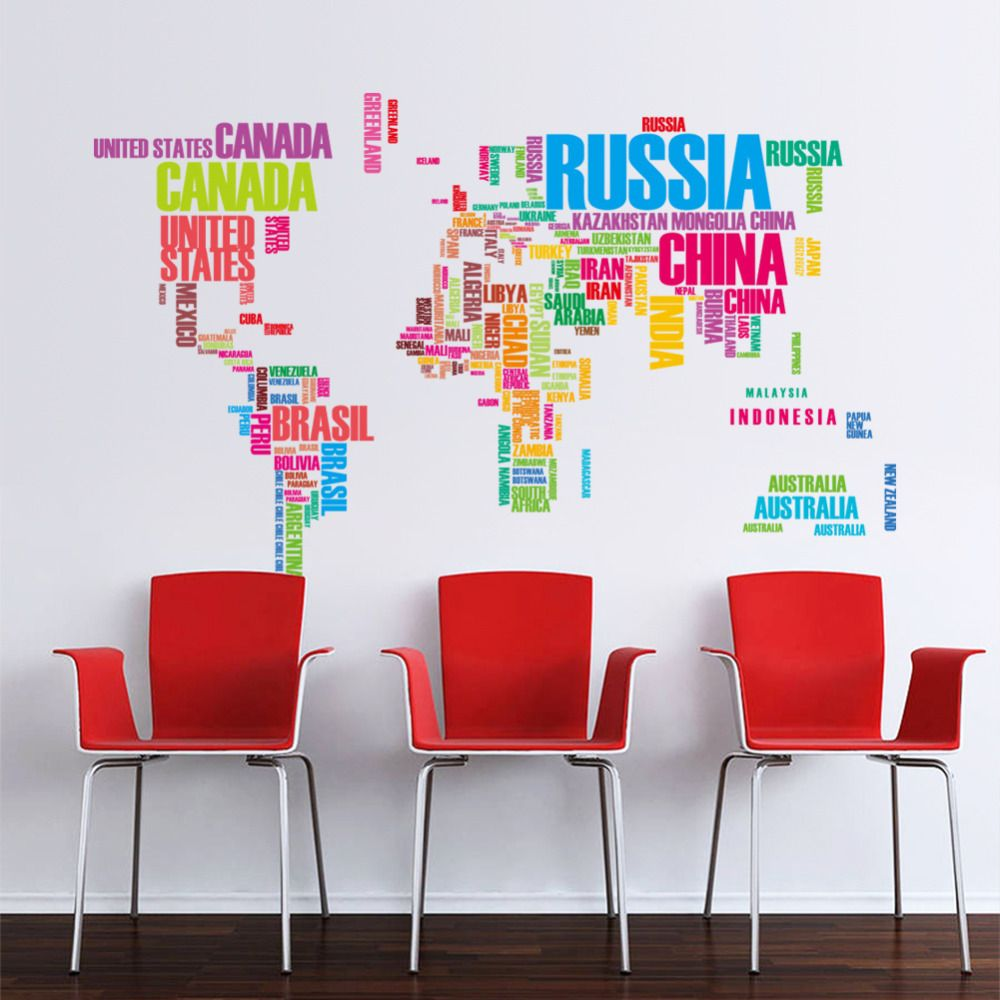 Newest large multicolor world map removable vinyl decal art office newest large multicolor world map removable vinyl decal art office home decor wall stickers gift for gumiabroncs Image collections