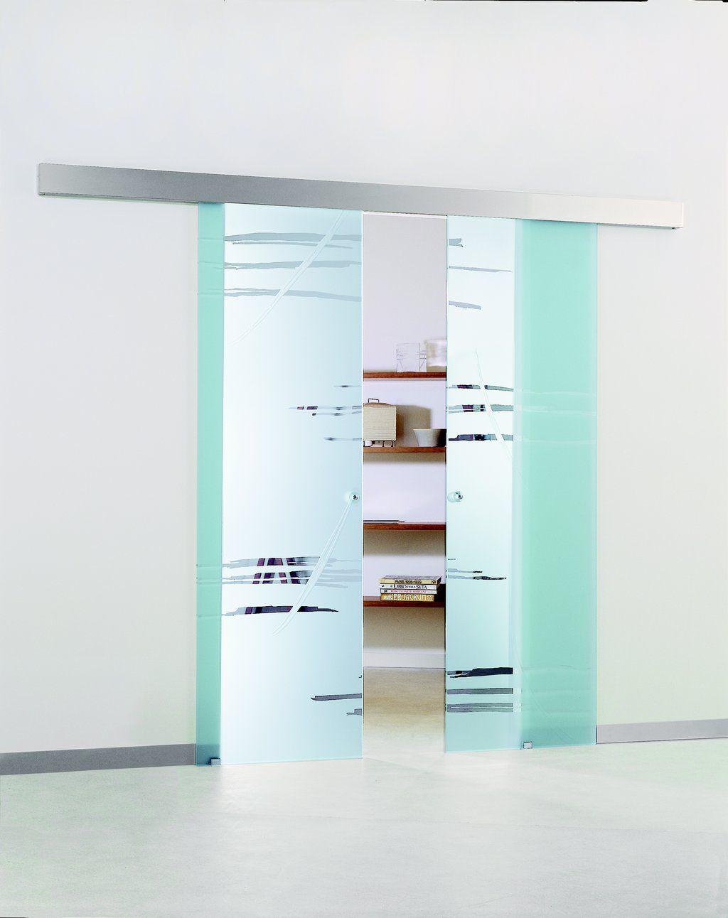 etched frameless glass sliding door modernus - Wall Mount Sliding Doors Interior