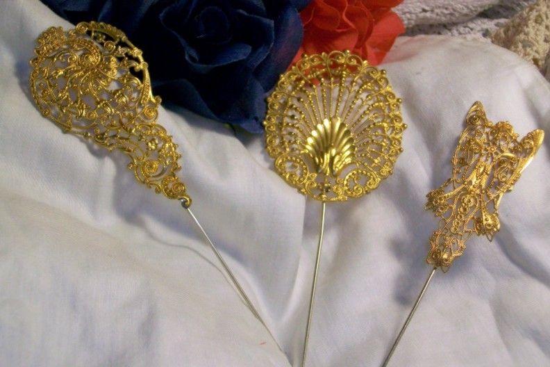 Art Deco Real Gold Dore Hat Pin Paris Street Market 1914 1927 Colsenet Epernay Antique Millinery Hatpin Fascinator Jewel Peaco Hat Pins Antique Hats Hat Brooch