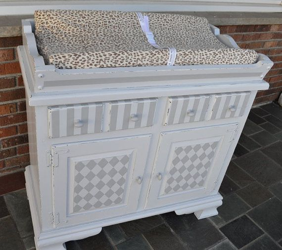Baby changing table/ dresser painted shabby chic grey for your nursery